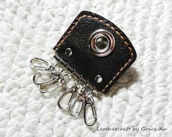 100% hand stitched handmade dark brown cowhide leather keychain / key holder