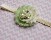 Girls Headband, Baby Bow, Light Green Ivory, Flower Rhinestone, Fancy Pearls, Victorian Bling, Ready To Ship, Any Size, Photo Prop, Wedding