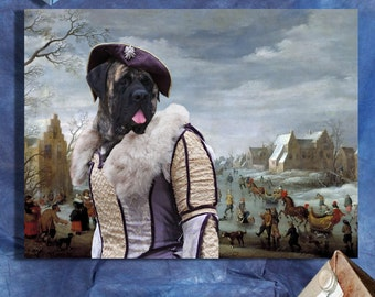 English Mastiff - Mastiff Art CANVAS Print Fine Artwork of Nobility Dogs Dog Portrait Dog Painting Dog Art Dog Print