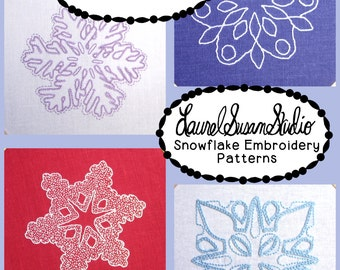 Snowflake Embroidery Patterns PDF Download Winter Hand Stitching Hand Drawn Design