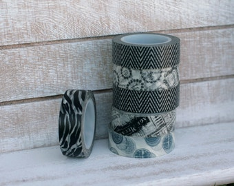Washi tape on sale, 6 rolls of black and white washi tape, Zebra print washi tape, journal tape, scrapbook tape, black and white chevron