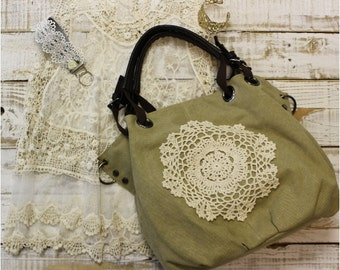 Ready for Duty khaki canvas handbag | purses, messenger, unique, lace-handmade, women, boho, rustic, bags, tote, crochet, accessories | H3