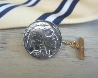 Tie Tack , Nickel Coin Tie Tack , Vintage 30s , Indian Head Nickel Tie Tack , Men's Vintage Jewelry , Gift for Him , Gift for Man