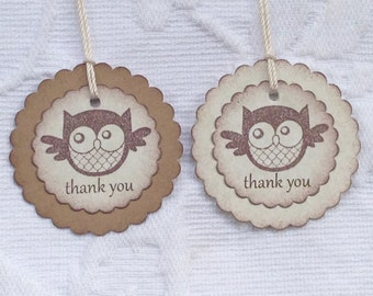 Owl Thank You Tags - Owl Birthday Party Tags - Gender Neutral Baby Tag