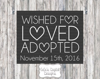 Adoption Announcement, Adoption Day, Adoption chalkboard sign, Adoption Printable, Printable Chalkboard, Digital Prints, Adoption Sign