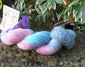 "100grms hand painted merino/nylon yarn "" Baby's breath  """