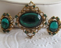 Vintage Green Lucite Jelly Belly Matching Pin and Earrings with White and Green Enamel - Gold Tone Filigree