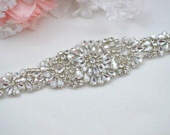 SALE Wedding Belt, Bridal Belt, Sash Belt, Crystal Rhinestones , party belt ,beaded sash