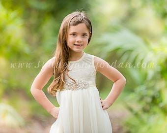 Long Ivory Lace Rhinestone Belt Flower Girl Dress, Shabby Chic Ivory Dress, Rustic Wedding Dress, Easter Dress, Vintage Girls Dress