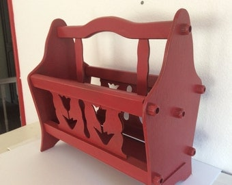 Wood Magazine Rack - Painted Red - Distressed - Beach Cottage - Nautical Decor - Shabby Cottage Chic - Tulips Dutch Decor - French Country