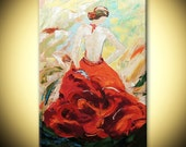 Hand painted figure Red dress Flamenco Dancer texture Impasto on canvas Modern Fine Art Deco Palette knife acrylic Painting gift by IraSher