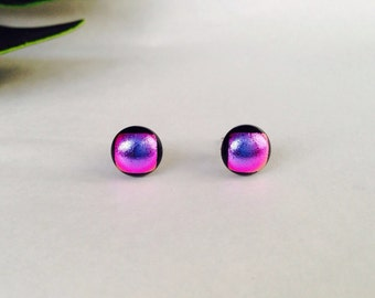 Violet/ Pink Dichroic glass stud earrings, on sterling silver - Fused dichroic glass
