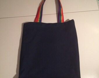 Handmade Denim, Jeans Tote Bag with Rainbow Straps,Eco -Friendly Bag