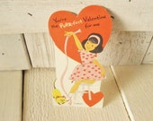 Vintage valentine girl with cat childrens 1960s