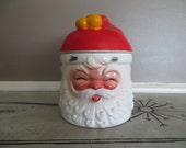 Santa Covered Music Box Cookie Jar Santa Canister Vintage Santa Claus Holiday Decor Christmas Decor