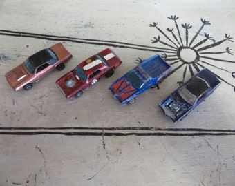 4 Vintage Hot Wheels Redline Cars Toy Cars Metal Cars Mattel Cars Breakaway bucket TBird TNT Bird El Dorado