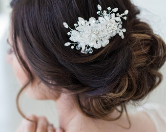 Wedding Lace Headpiece, Wedding Hair Accessories, Crystal Beaded Headpiece, Ivory Flower Hair Comb, Bridal Hair Accessories, Lace Hair Clip