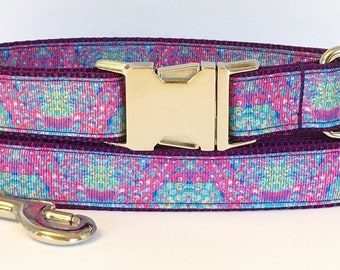 Lilly's Lagoon Pink and Purple Inspired Dog Collar/ Lilly's Lagoon Inspired Multi-Colorway Dog Leash