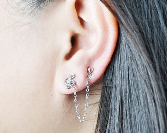 Music Note Lobe to Cartilage Double Pierce Earrings (Pair)