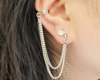 VALENTINES DAY SALE Silver and Black Triple Chain Cuff Earrings (Pair)