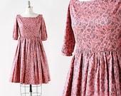 Botanical Print / Pink and Black Floral Print Dress / 1960s Dress / 1960s Flower Print Dress / Novelty Print / 24 Waist