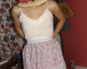 Sweet vintage cotton floral apron, sheer, 1930's 1940's 1950's, delicate, pink lavender white flowers, rick rack ruffles, handmade, used