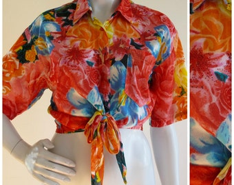 Indian Cotton 70s/80s Tropical Summer Semi Sheer Crop Top