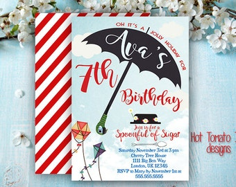 Mary Poppins  Invitation- Birthday Invitation- Mary Poppins Inspired Party-Umbrella- Printable-Digital 5x7