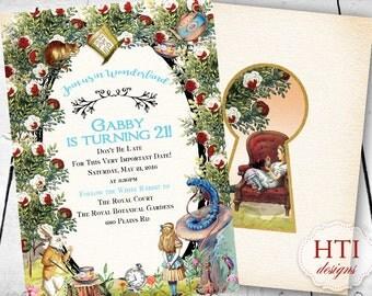 Alice in Wonderland  Invitation-  Birthday Alice in Wonderland-Vintage- White Rabbit-Caterpillar- Printable-Digital