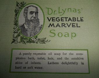 2 NOS 1920s Dr Lynas Vegetable Marvel Quack Soap Label Never Used