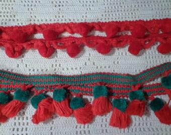 Red and Green Pom Pom Tassel Fringe Braid Gimp Trim