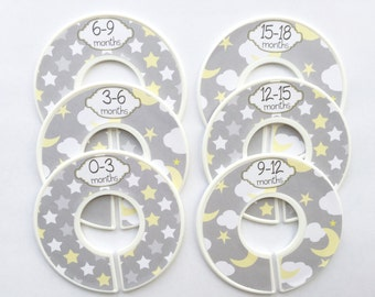 6 Baby Closet Dividers, Nursery Organizers, Moon and Stars, Clothes Closet Organizers, Infant Closets, Infant Clothes Organizers 0-18mo #701