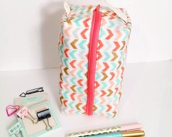 Cosmetic Bag with Coral, Mint & Gold on White