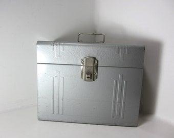 Vintage Gray Metal File Box - Heavy Duty Box - Personal Records Box - Metal Storage Lock Box - Industrial Metal Storage Box