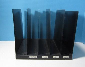 Metal File Holder Steel Vertical Open File Desktop Industrial Metal File Black 5 Slots