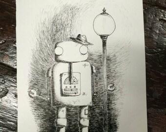 Hobo Robo - original pen and ink robot drawing by Jon Turner- FREE WORLDWIDE SHIPPING
