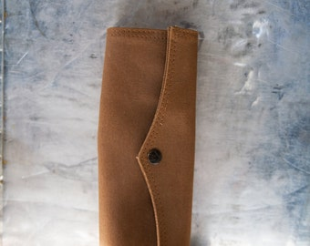 Vintage Tool Roll Brown Fabric Folding Pouch
