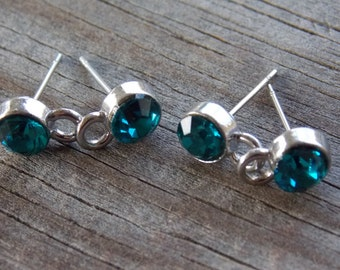 2 pair Teal Crystal Post Earrings with Loop Silver Plated 7mm Rhinestone with Matchin Silver Backs
