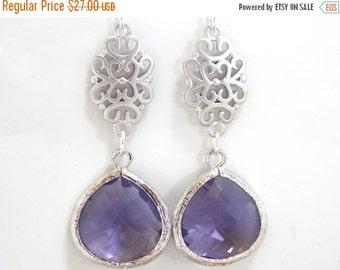 SALE Purple Earrings, Glass Earrings, Tanzanite, Silver Earrings, Amethyst, Wedding Jewelry, Bridal, Bridesmaid Earrings, Bridesmaid Gifts