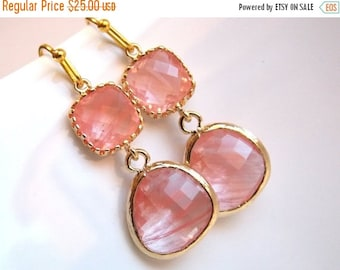 SALE Coral Earrings, Peach Earrings, Gold Earrings, Pink, Grapefruit, Glass, Bridesmaid Earrings, Bridal Earrings Jewelry, Bridesmaid Gifts