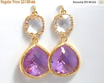 SALE Glass Earrings, Lavender Earrings, Purple, Lilac, Clear Earrings, Transparent, Gold Earrings, Bridesmaid Earrings, Bridal, Bridesmaid G