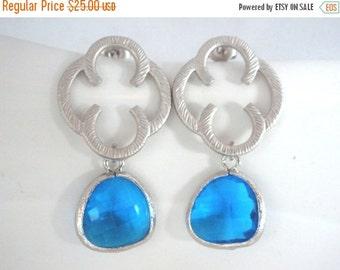 SALE Blue Earrings, Glass Earrings, Sapphire Blue, Capri Blue, Silver Earrings, Bridesmaid Earrings, Bridal Earrings Jewelry, Bridesmaid Gif