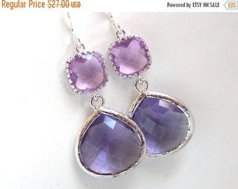 SALE Purple Earrings, Dangle, Lavender, Lilac, Violet, Drop, Silver, Wedding Jewelry, Bridesmaid Earrings, Bridal Jewelry, Bridesmaid Gift