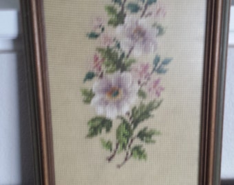 Framed Pansy Needlepoint