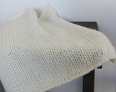 Cream Knitted Chunky Mini Blanket/ Mat/ Basket Stuffer Photo Prop, Wool Baby Blanket, Any Color
