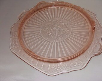 Vintage PiNK DEPRESSION CAKE Stand MAYFAiR ROSE Open Footed Plate Circa 1930s Hocking Glass