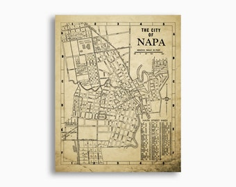 Napa California Map Vintage 1938 Design Napa Wall Art Napa Art Print
