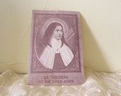 1950s Sepia St. Theresa of the Child Jesus Novena Prayer Card from Detroit, Michigan