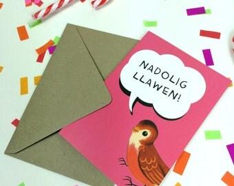 Welsh Text Christmas Nadolig Llawen Retro Hot Pink Robin Eco Friendly Greeting Card