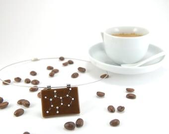 Caffeine molecule necklace, white molecule on chocolate brown fused glass pendant